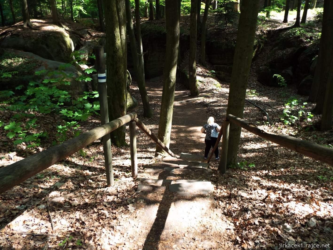 Hruboskalsko - Adamovo lože - schody ke skalní průrvě